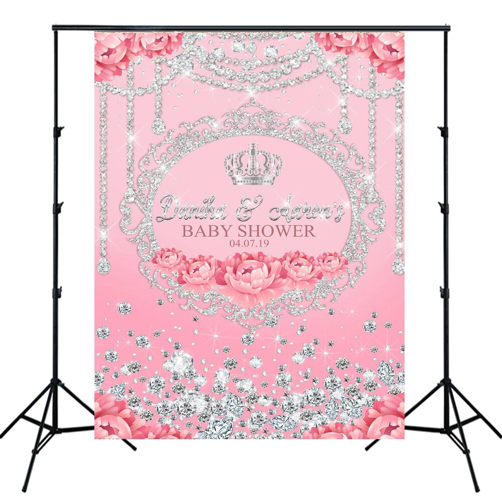 Rosa floral brillo diamantes plata corona baby shower telón de fondo para chica 1 er cumpleaños banner Foto fondo decoración de pared SM-307