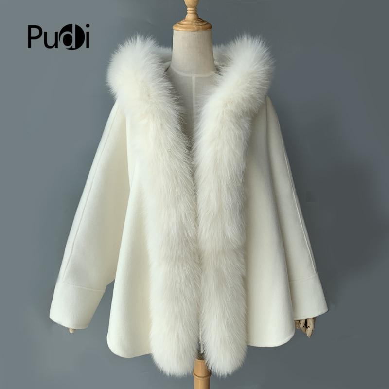 Nuevo cuello de piel de zorro real poncho chal blanco lana abrigo mujer capucha CK001