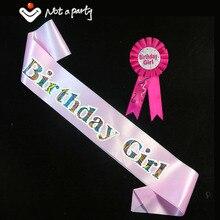 Значок на день рождения для девочек и взрослых, набор со стразами, розовая, женская, синяя, Мужская лента, значки на день рождения 18, 21, товары для мероприятий и вечерние, забавная игра