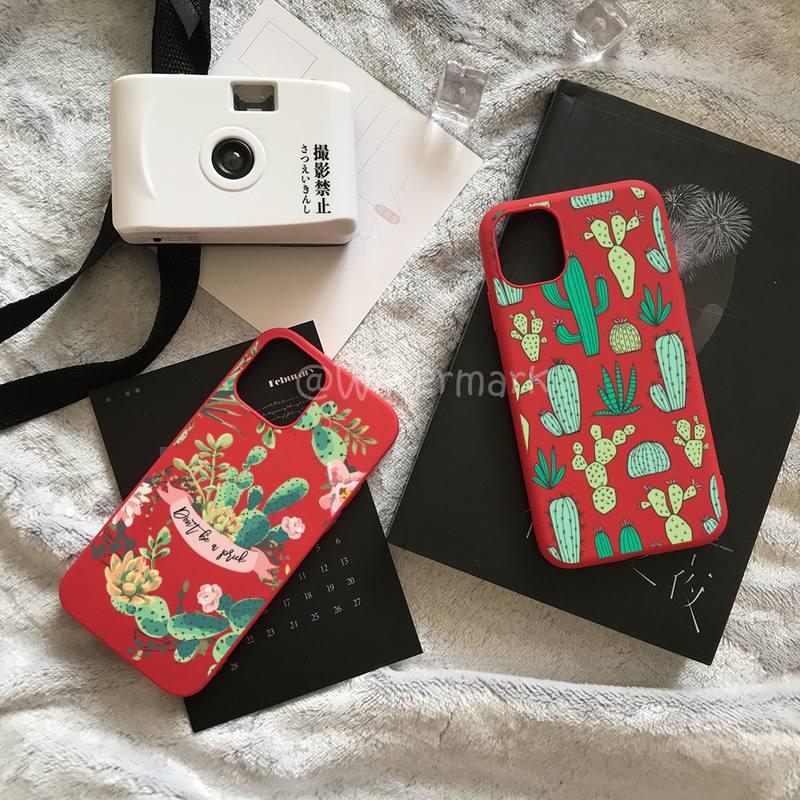 Coque de téléphone à motif de Cactus, pour IPhone 7 8 6 6s Plus Xr X Xs 11 12 Pro Max, couleurs acidulées rouges