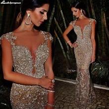 Sequins Arabic Sheer V Neck Mermaid Evening Dresses 2019 Cap Sleeves See Through Skirt Sexy vestidos de fiesta Promal Dress