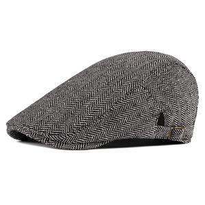 2021 Cotton four seasons striped Newsboy Caps Flat Peaked Cap Men and Women Painter Beret Hats 59