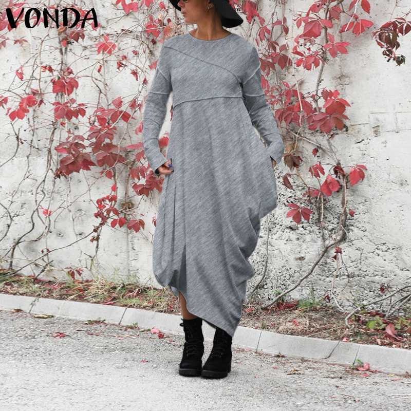 Plus Size Dress Women Autumn Winter Pleated Long Sleeve Dresses 2020 VONDA Solid Party Robe Femme Asymmetrical Maxi Vestidos