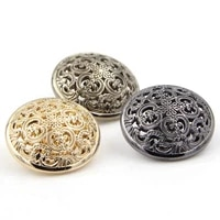 10pcs 152025mm fashion hollow vintage buttons for coat black metal snap button sewing supplies and accessories blouse buttons
