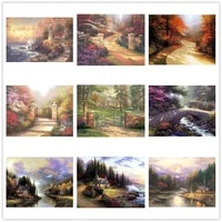 new 5d diy diamond thomas kinkade picture full drill embroidery mosaic cross stitch kit home decoration holiday gift