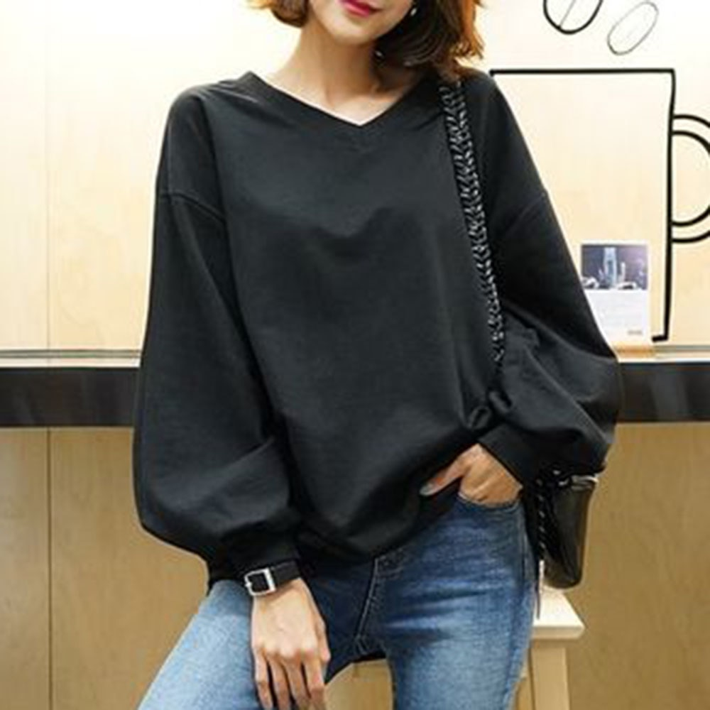 Women Plain Hoodies Autumn Long Sleeve Solid V Neck Pullover Sweatshirt Japan Elegant Office Causal