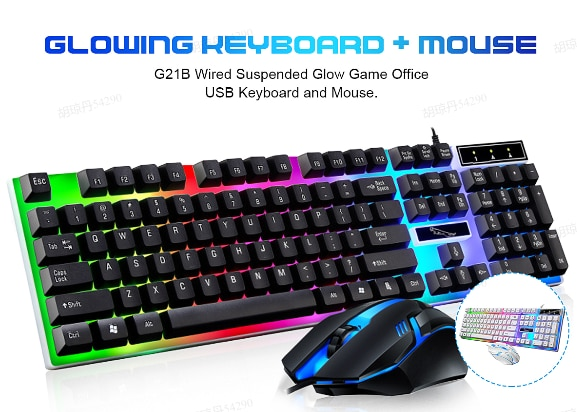 Juego de teclado para juegos por cable, juego de ratón con retroiluminación RGB, teclado silencioso ruso para Gamer, teclado para PC