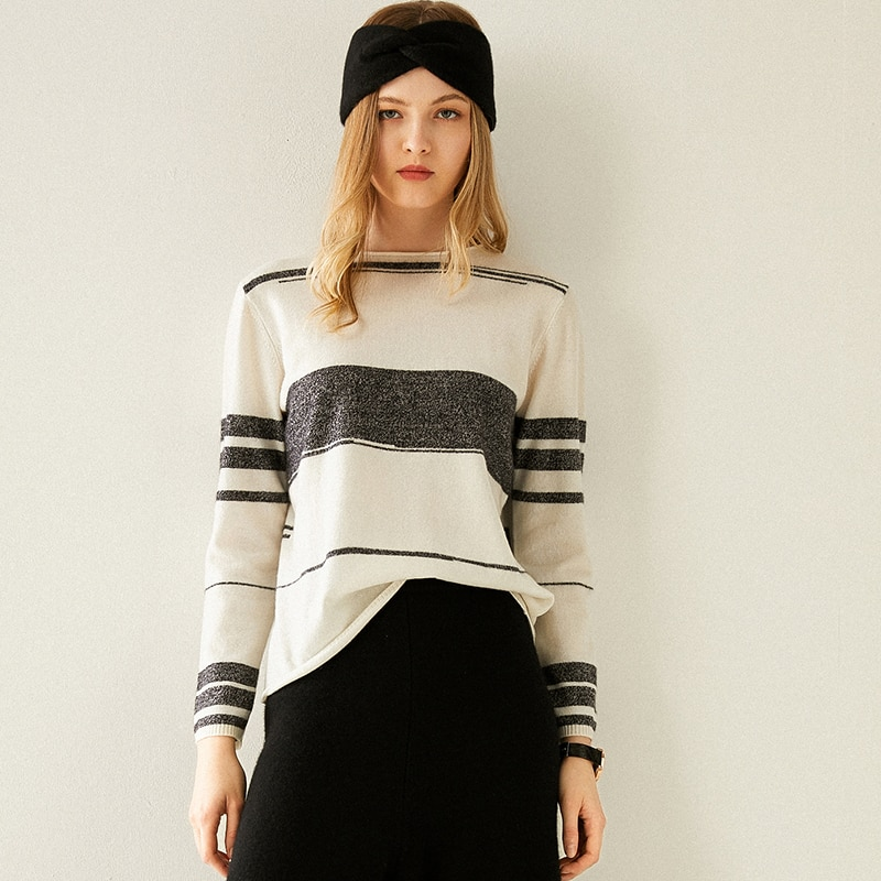 Tailor Shop Custom Made Pure Cashmere Sweater Women Stitching Striped Loose Loose Outer Wear Casual Sweater Knitting Base enlarge