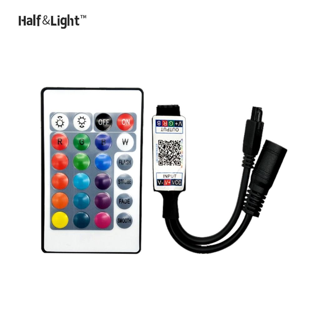 Mini RGB Bluetooth Controller DC 5V 12V 24V Light Strip Driver For RGBW LED