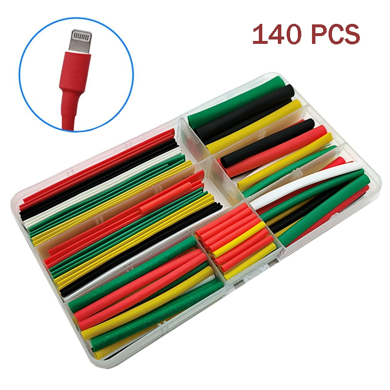 140 шт., термоусадочные трубки, разнообразные полиолефиновые трубки