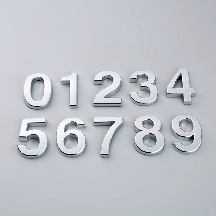 50*35*6mm 0 a 9 autoadhesivo galvanizado número de puerta autoadhesivo Número Digital placas de puerta de números de casa