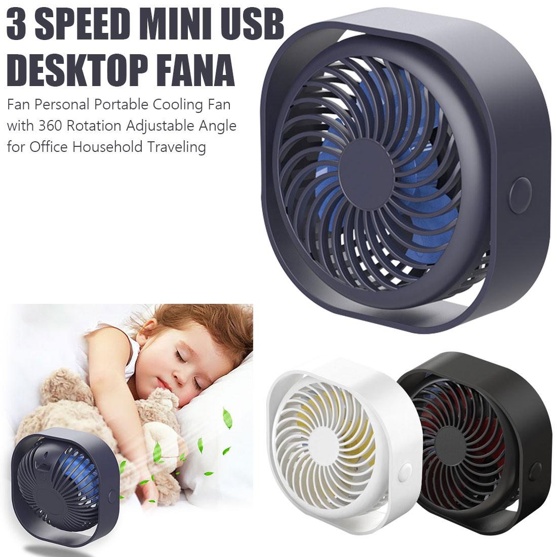 Small USB Desk Fan Quiet Wireless Rechargeable Portable Fan 360 Rotation 3 Speeds Personal Table Cooling Fan Home Office usb clip desk fan mini usb personal cooling fan portable table electronic fan 360° rotation for home office dormitory bedroom