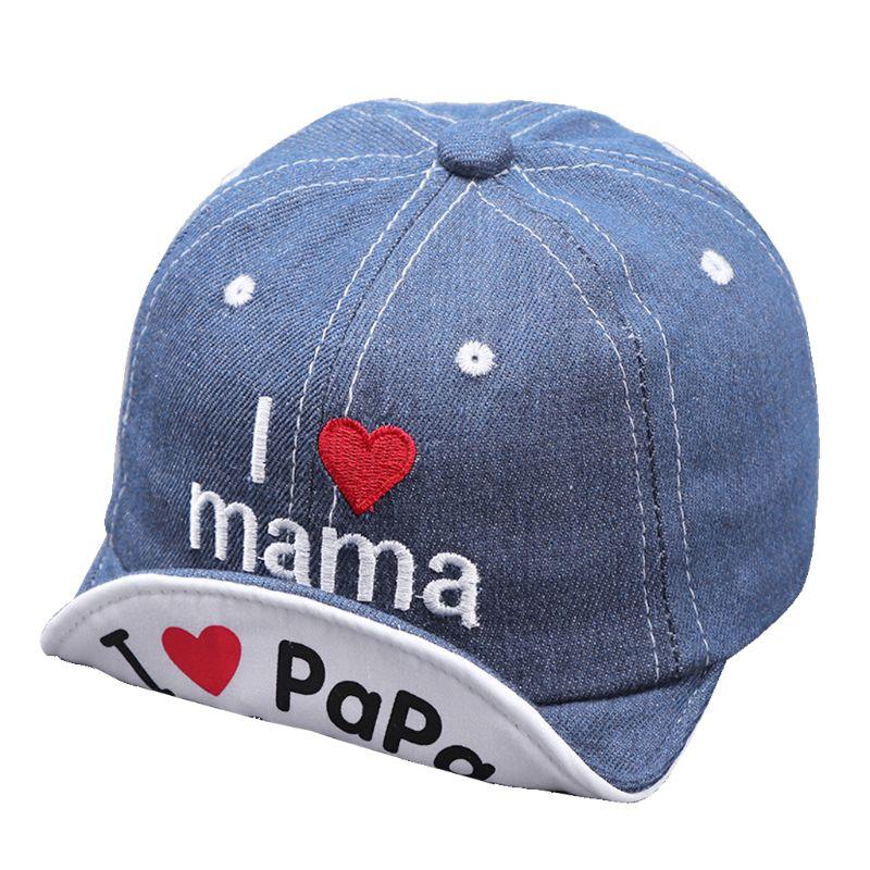 Sombreros transpirables de verano para bebé recién nacido, sombrero Snapback para niño niña, sombrero para fotografía Prop chico I love PAPA MAMA, sombrero de mezclilla para el sol