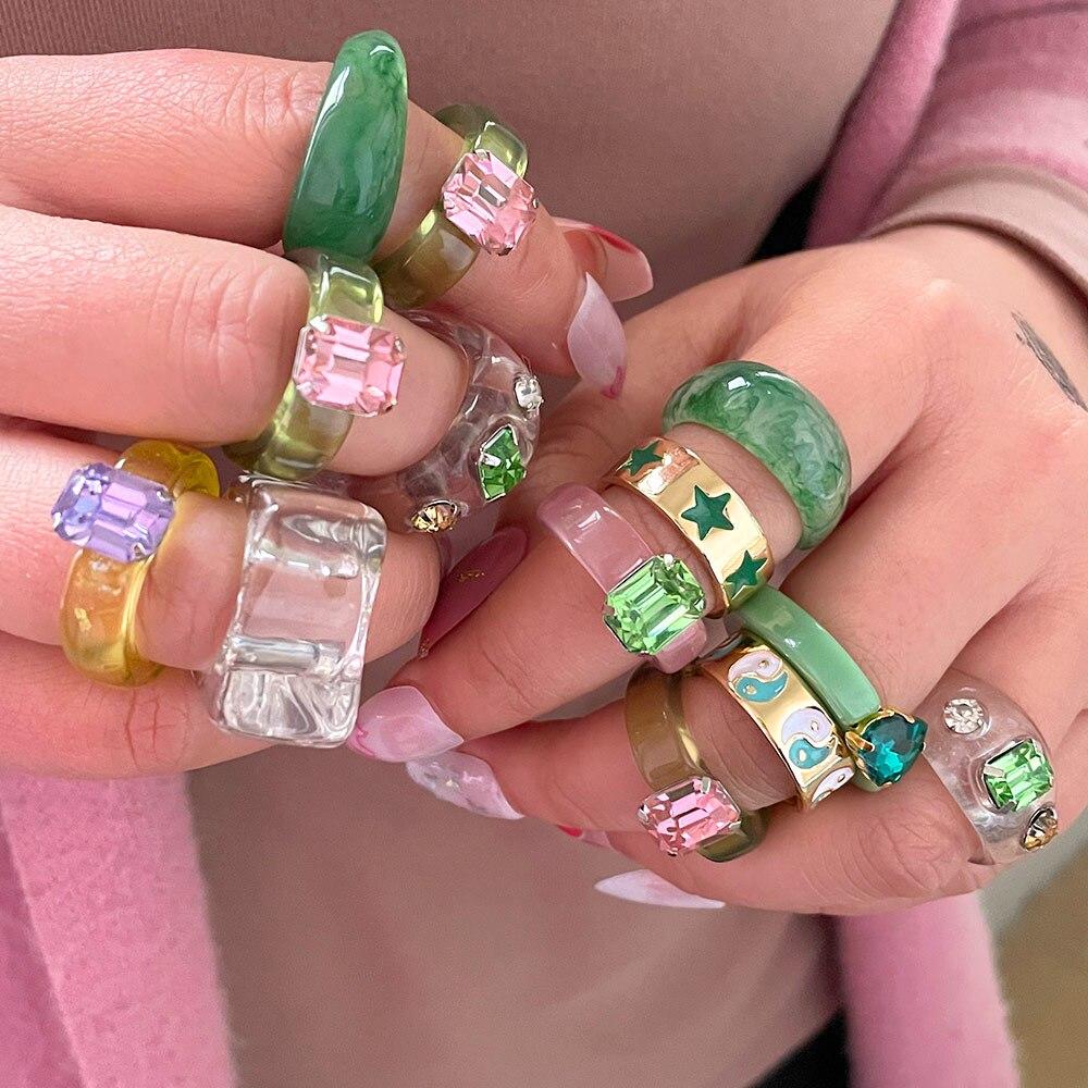 Flatfoosie New Geometry Irregular Round Resin Rings for Women Colorful Rhinestone Chunky Rings Fashion Wedding Jewelry Gifts