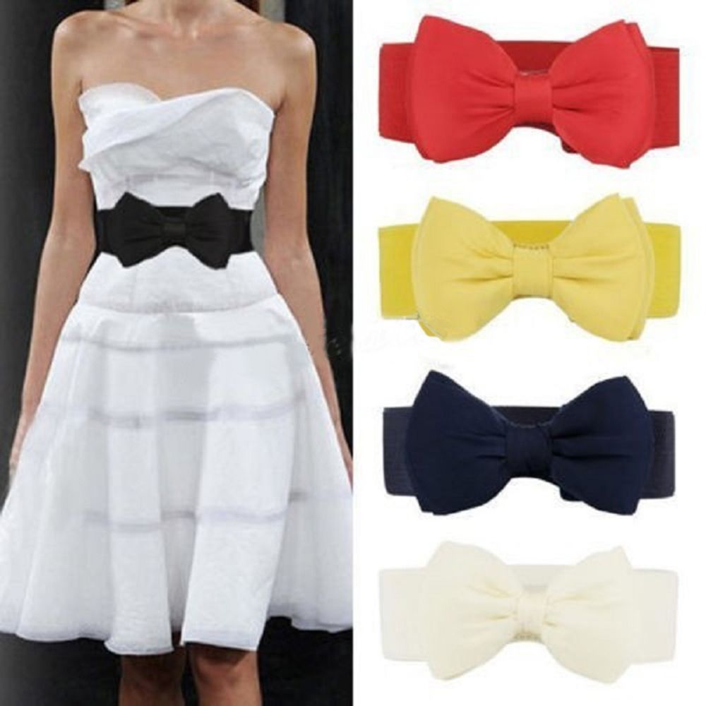 Hot Sale  Elastic Wide Stretch Buckle Bowknot Bow Waistband Waist Belt Accessories For Girl Women Dr