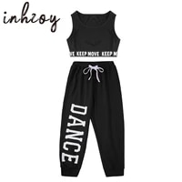 hip hop girls jazz costumes kids dance outfits sleeveless letter print tank crop top with pants set gymnastics workout dancewear