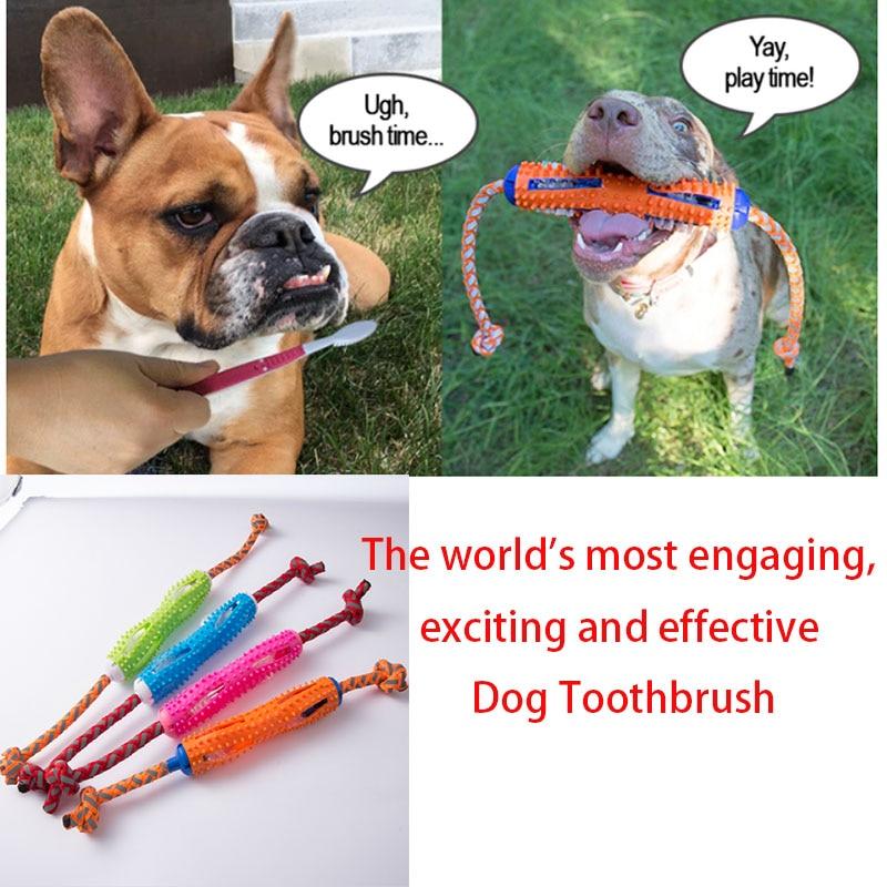 Cepillo dental para perro mascota juguete para masticar perro cepillo palo de goma suave dientes de limpieza pasta de dientes para perros mascotas efectivo cepillo dental para perro Juguetes