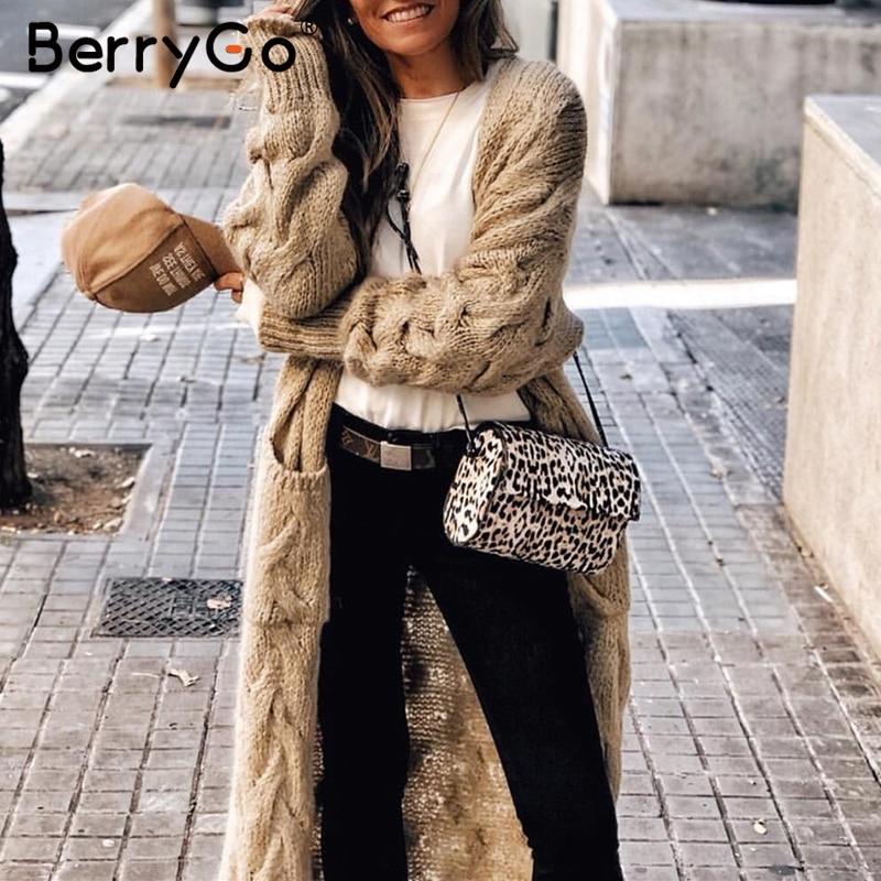 BerryGo зимний мохер длинный кардиган вязаный свитер женский длинный рукав женский джемпер кардиган Повседневный уличная pull femme 2019