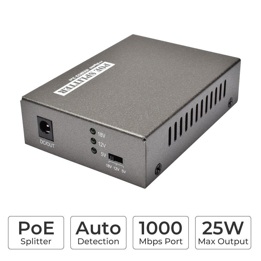 New Gigabit 10/100/1000 Mbps Network Data Rate IEEE 802.3at/af PoE Splitter Adapter 5V(3.5A)/12V(2A) /18V(1A) Power output enlarge