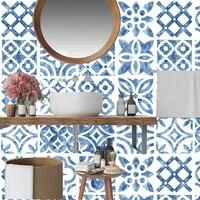 Autocollants muraux de carreaux a bande bleue mediterraneenne  carreaux de cuisine  salle de bains  escaliers  ceramique  pelage et baton  affiche murale en PVC personnalisee