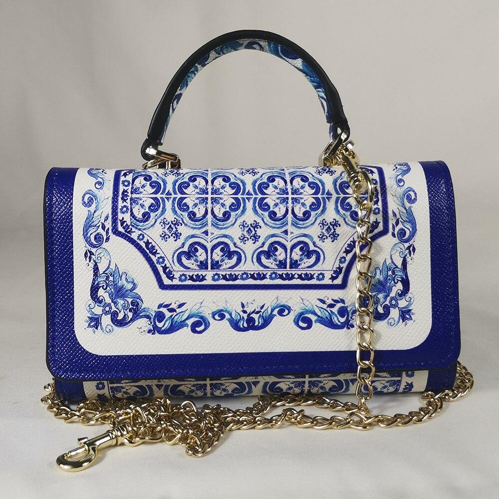Vers handtas vierkante tas blauw blauw en wit porselein vierkante wilde vierkante handtas mini tas tas elegante carteira telefone