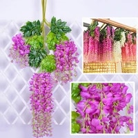 12pcspack artificial flowers plants wisteria fake flower rattan wedding home garden wall decoration pendant plant art decor