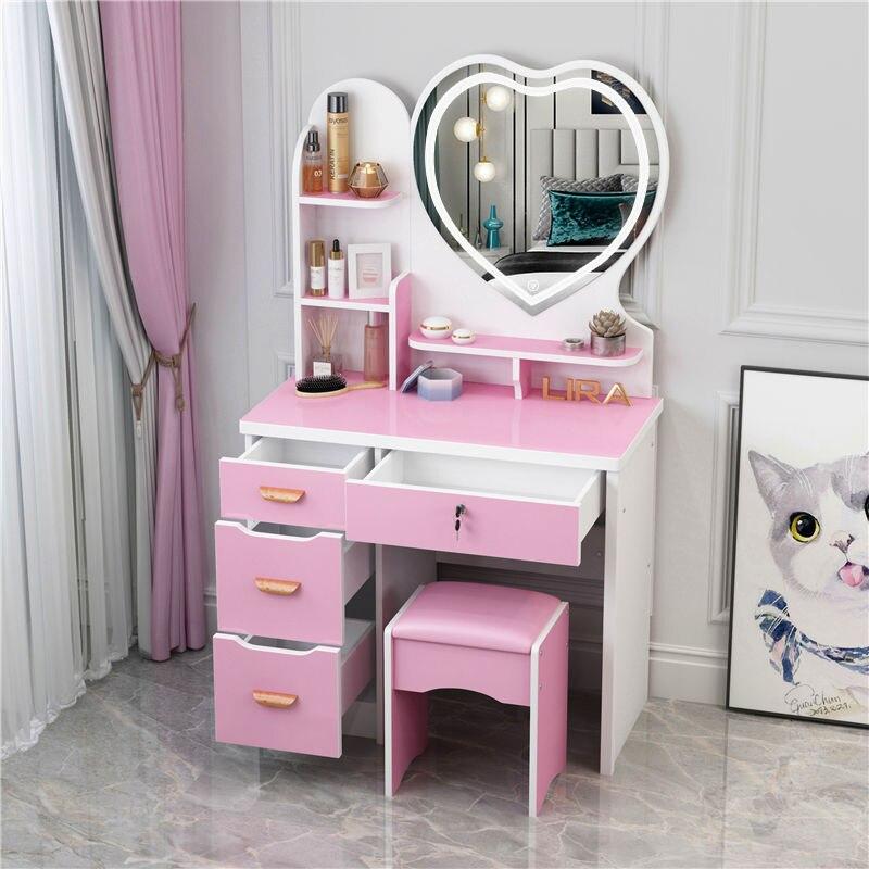 Мебель для макияжа, туалетный столик с ящиками, зеркальная мебель для спальни, современный деревянный туалетный столик светильник ким зерк...