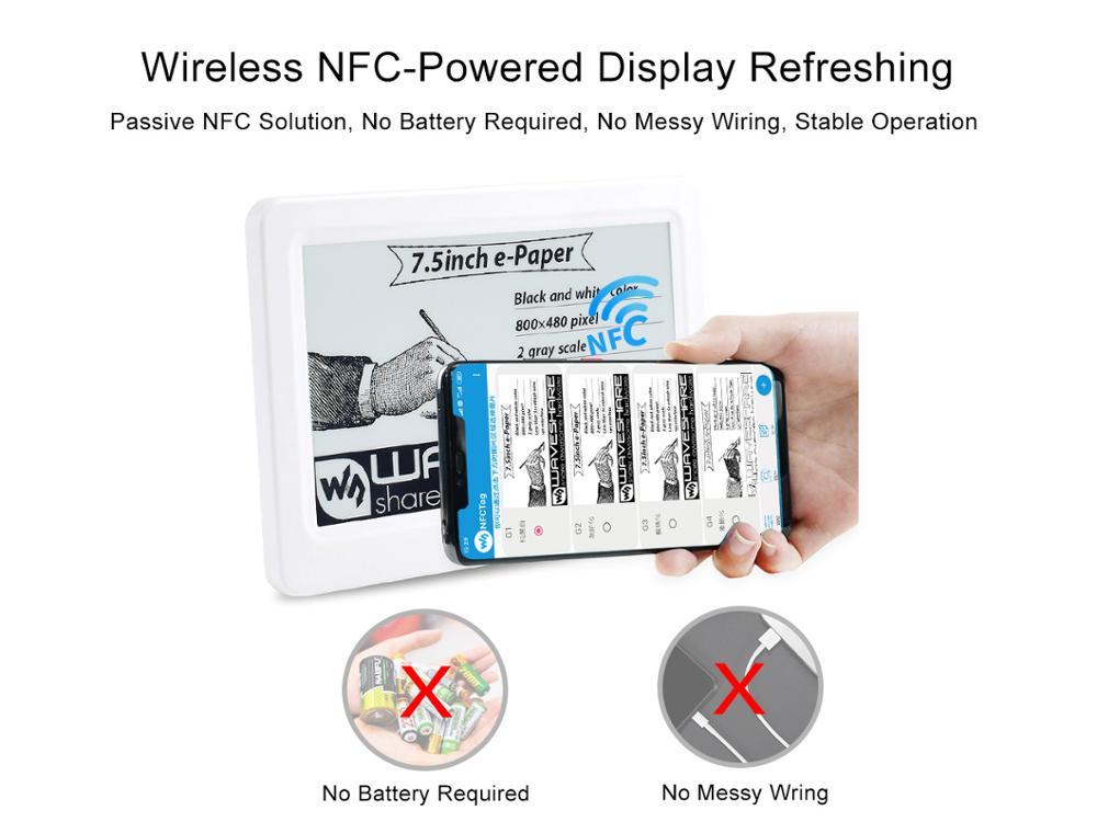 Waveshare 7,5 zoll Passive NFC-Powered e-Papier, Keine Batterie, Drahtlose Speisung & Daten Transfer