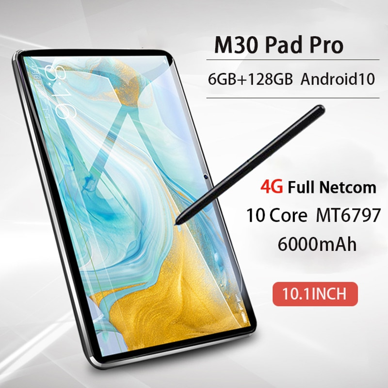 Global M30 Pro 2021 Tablet MT6797 10Core 6GB RAM 128GB ROM Android Tablet 10.1 Inch 2K Tablet Androi