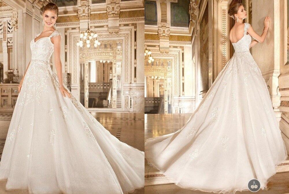 Atractivo A-Line Appliques blanco marfil manga casquillo vestido de novia longitud del piso vestido de novia Sweetheart F663
