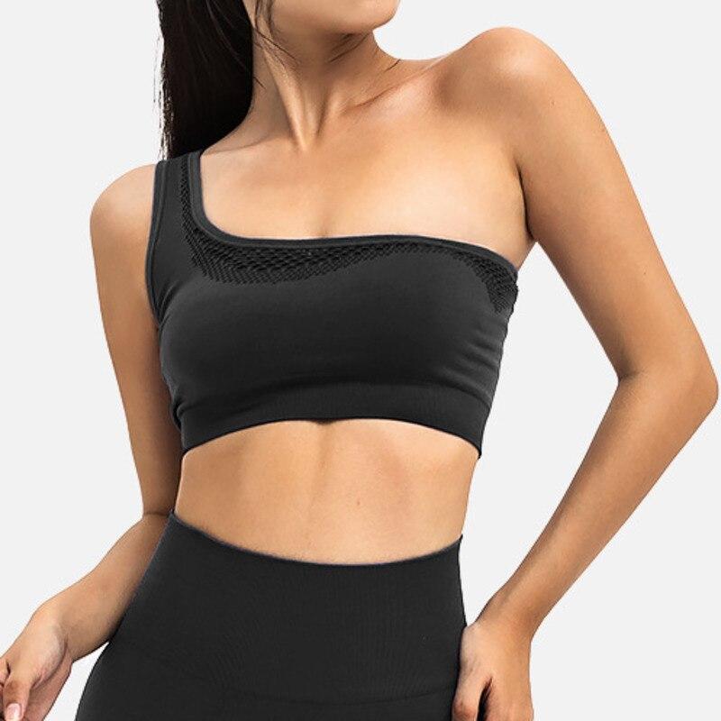 Sujetador deportivo para mujer, parte superior de sujetador con hombros inclinados para Yoga, ropa interior de encaje perfecto para mujer