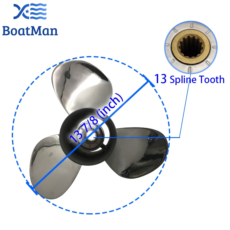 Outboard Propeller 13 7/8x17 For Suzuki Engine 60-140 HP Stainless Steel 13 Tooth splines Outlet Boat Parts 58200-92J50-000 enlarge