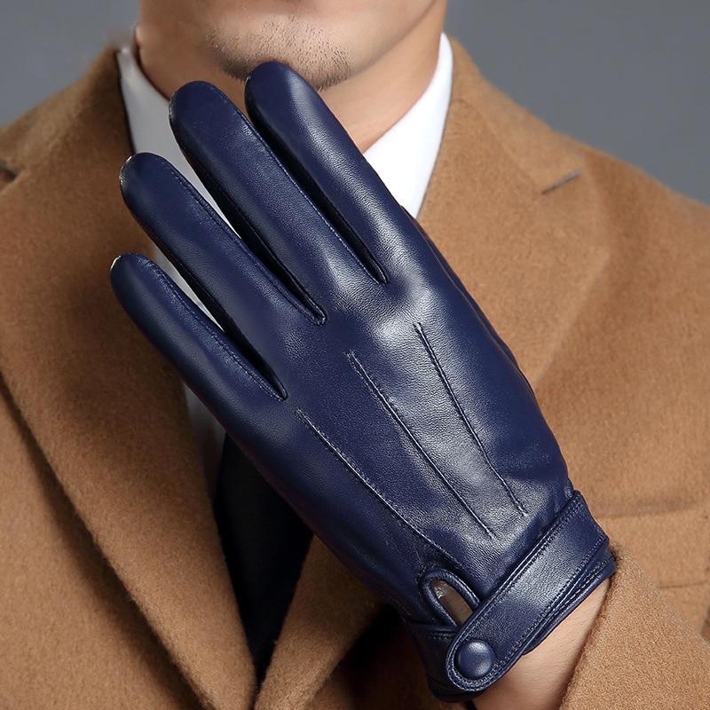 Перчатки из натуральной кожи мужские зимние сохраняющие тепло кожаные перчатки для вождения из овчины мужские перчатки для сенсорного экр...