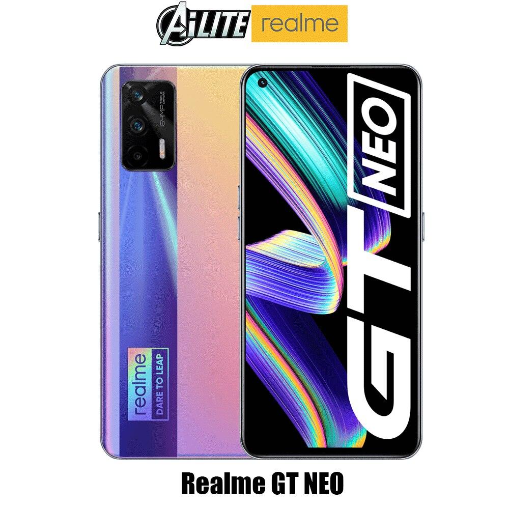Оригинальный Realme GT Neo 5G смартфон Dimensity 1200 Octa Core 6,43 дюйм FHD + безрамочный экран 120 Гц Super AMOLED 50 Вт быстро Зарядное устройство 64MP тройной Камера
