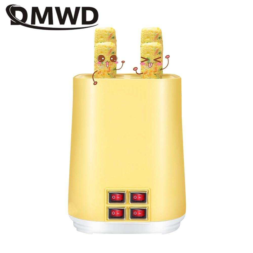 DMWD 4 أنابيب الكهربائية آلة طهي البيض التلقائي فطيرة ماكينة لف البيض السجق الكلب صانع الإفطار عجة كوب بيض غير لاصقة 220 فولت
