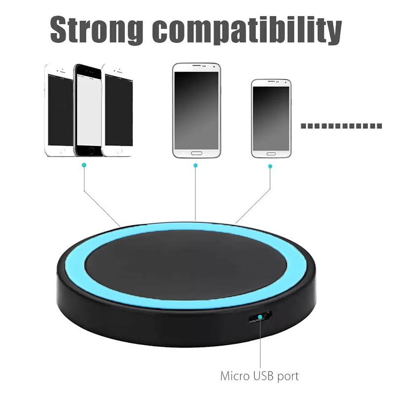 Novo qi padrão carregador sem fio de carregamento rápido almofada redonda esteira carregador sem fio universal compitable para celular telefone móvel inteligente