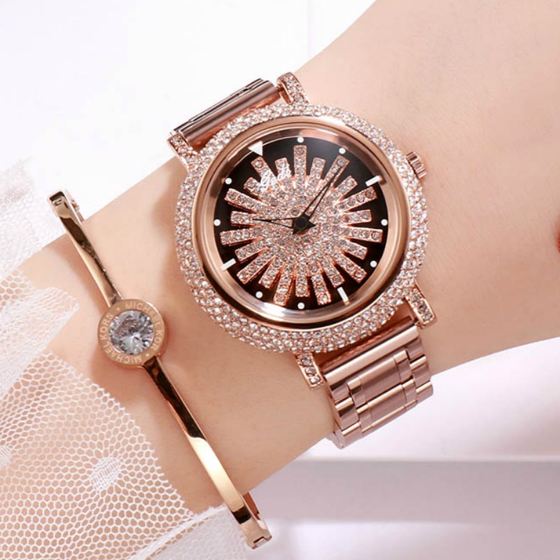Luxury Rose Gold Women Watches Stylish Rhinstone Rotate Dial Casual Wrist watch for women Top Brand 3ATM Waterproof Clock