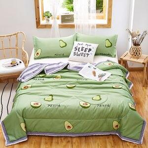 4pcs Set Summer Comfortable Quilt 100% Silk Comforter Blanket Quilt Duvet Washable Ice Silk Summer Air Conditioning Blanket