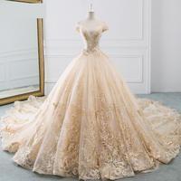 Wedding Dress Sexy V-neck Luxury Sweep Train Ball Gown Off The Shoulder Princess Vintage  Gowns Vestido De Noiva