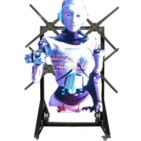 4 pcs synchronize 3d hologram led fan 3d hologram advertising display wall stand