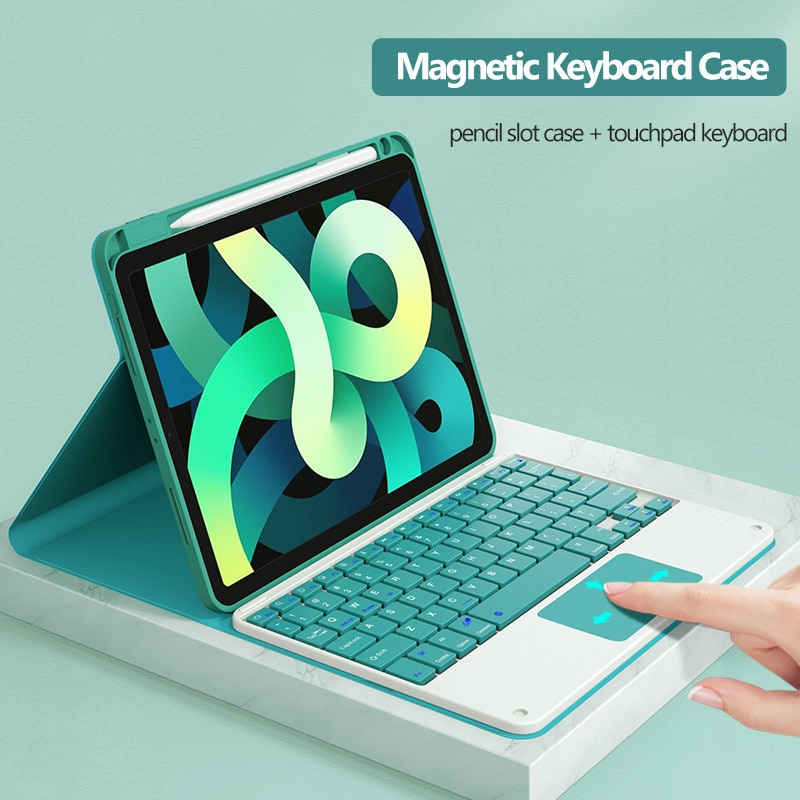 Teclado e Touchpad Case para Ipad Inteligente com Slot para Lápis para Ipad Teclado sem Fio Case 11 2021 Mouse Pro 10.5 ar 3 4
