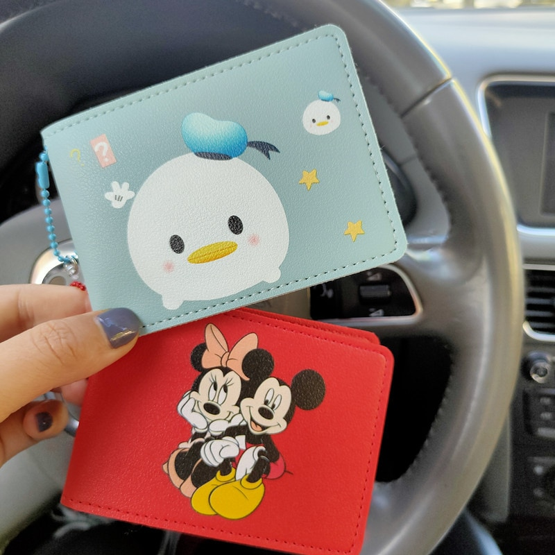 Disney Mickey Minnie Donald Duck StellaLou Cartoon Leather Case ID Package Driver's License Package