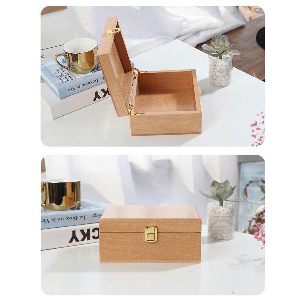 Caja de almacenamiento de madera Natural sin terminar caja de lápices Organziers caja de joyería collar pulsera pendiente pecho para artesanía de arte de madera DIY