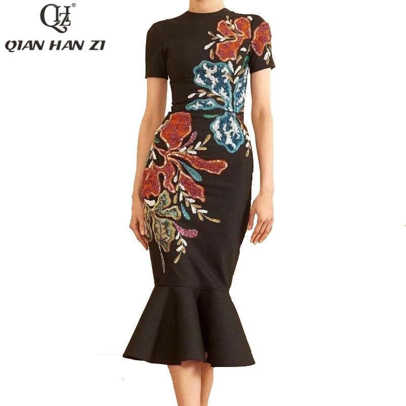 Qian Han Zi летнее дизайнерское модное женское платье 2021 черное винтажное платье с вышивкой блестками труба/Русалка