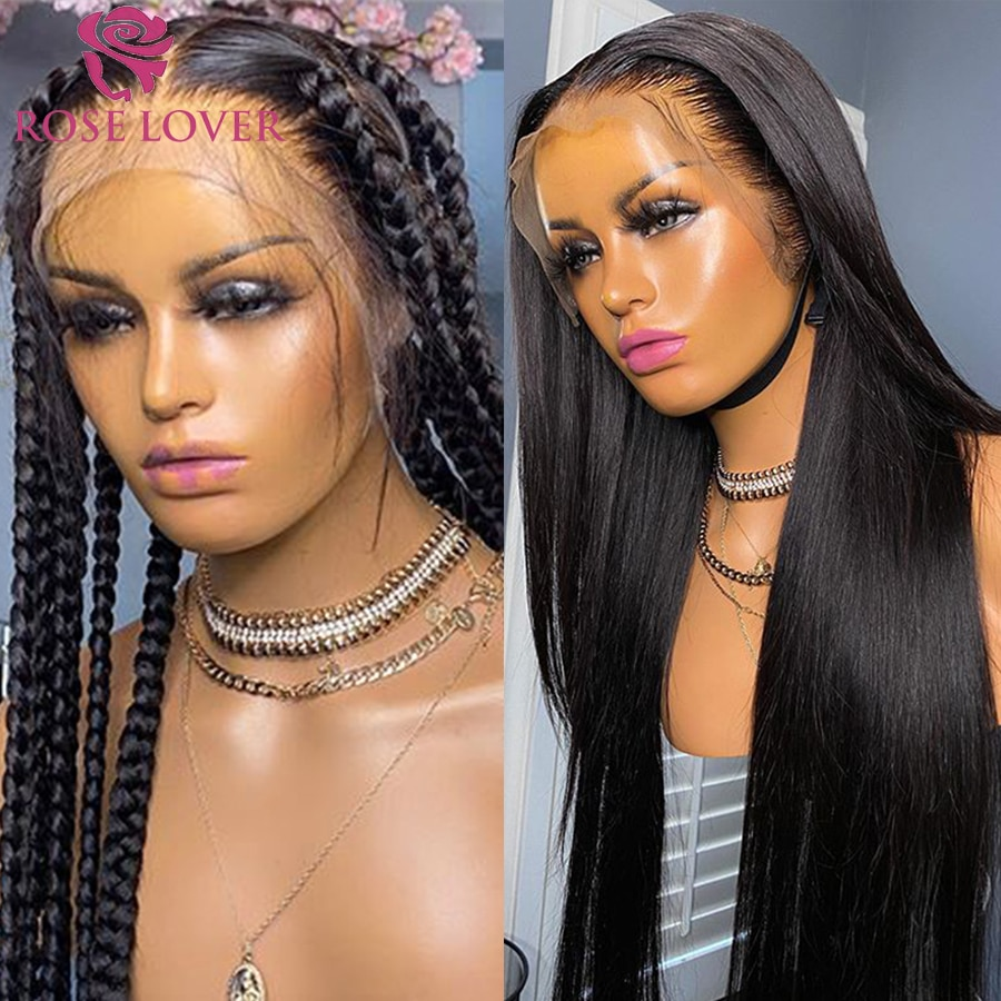 Full Lace Wig Human Hair Straight Wigs Pre Plucked With Baby Hair Natural Color 180% For Black Women Brazilian Straight Hair maxglam lace front human hair wigs for black women straight pre plucked with baby hair brazilian remy hair natural color