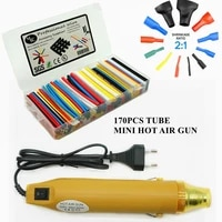 handheld mini hot air gun with 220v or 110v kit 170pcs heat shrink tube assortment shrink ratio 21 wrei cable sleeve kit