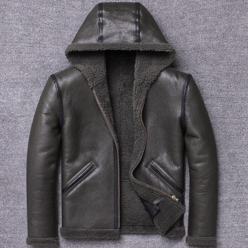 Hombres negro B3 Shearling Chaqueta corta de piel de oveja abrigo de piel de hombre con capucha motocicleta chaqueta de cuero abrigos de invierno