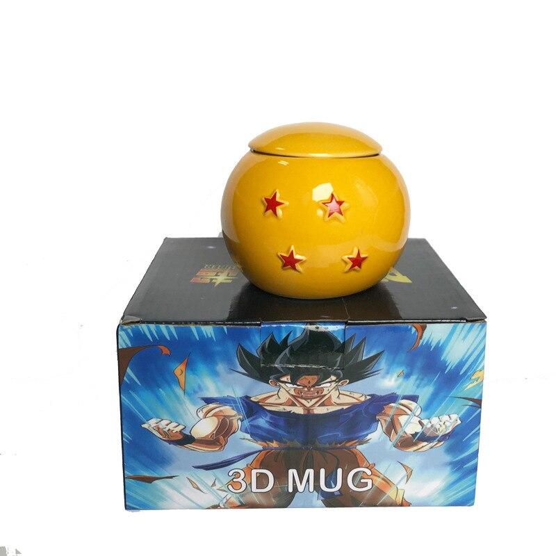 Taza de Anime de Dragon Ball, creativa taza de café de leche en forma de bola 3D de cerámica blanca de 400ML, taza con tapa, regalo para niños