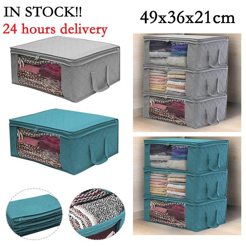 Ящик для хранения одежды, органайзер, сумка для хранения одежды с прозрачным окошком, корзина на молнии из нетканого материала для одежды с ...