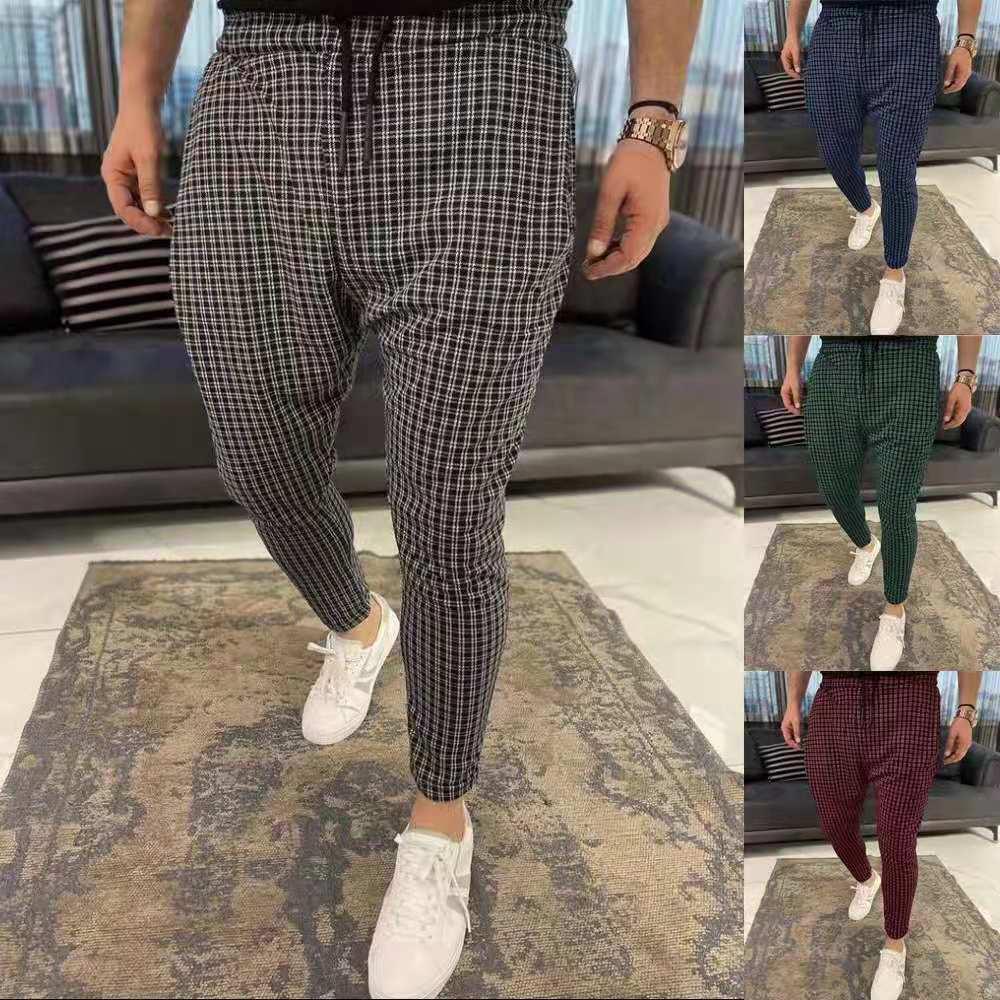 Новинка 2021, мужские брюки, повседневные мужские брюки, облегающие Стрейчевые мужские брюки, мужские брюки, облегающие мужские повседневные ...